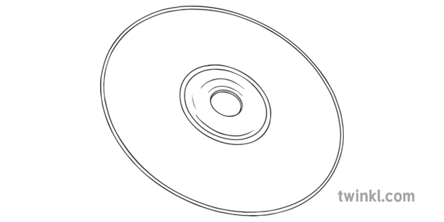 CD General Computer Disc Disk Music Data IT Secondary Bw RGB Illustration