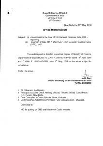 An Example of Office Memorandum by Government Of India