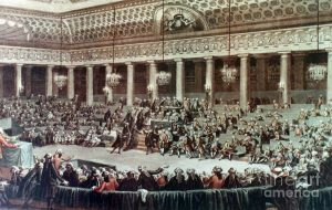 Depiction of National Assembly of France during French Revolution(source: pinterest.com)