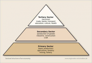 A visual depiction of three sectors of economy
