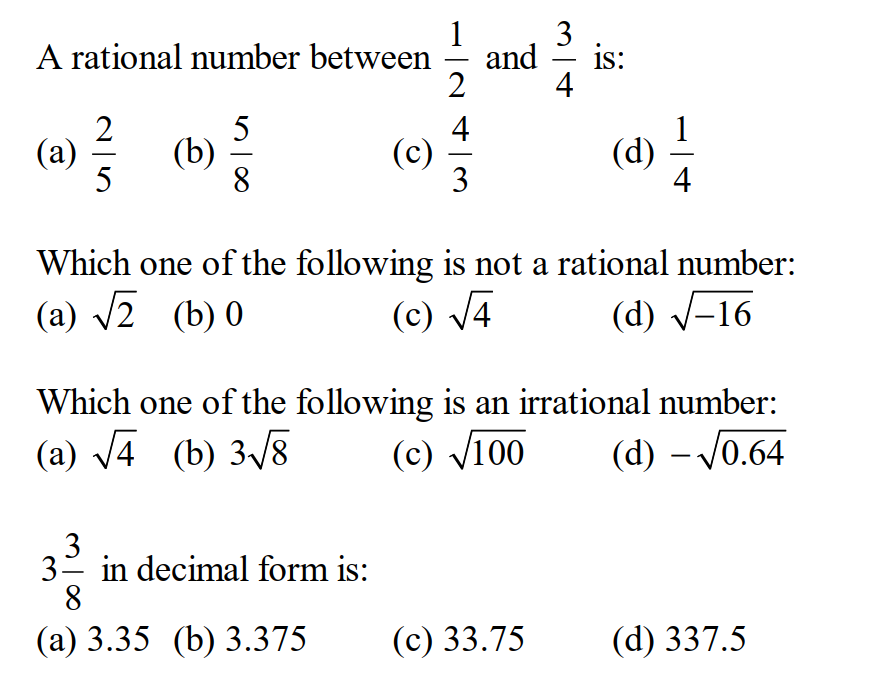 Questions on Real Number