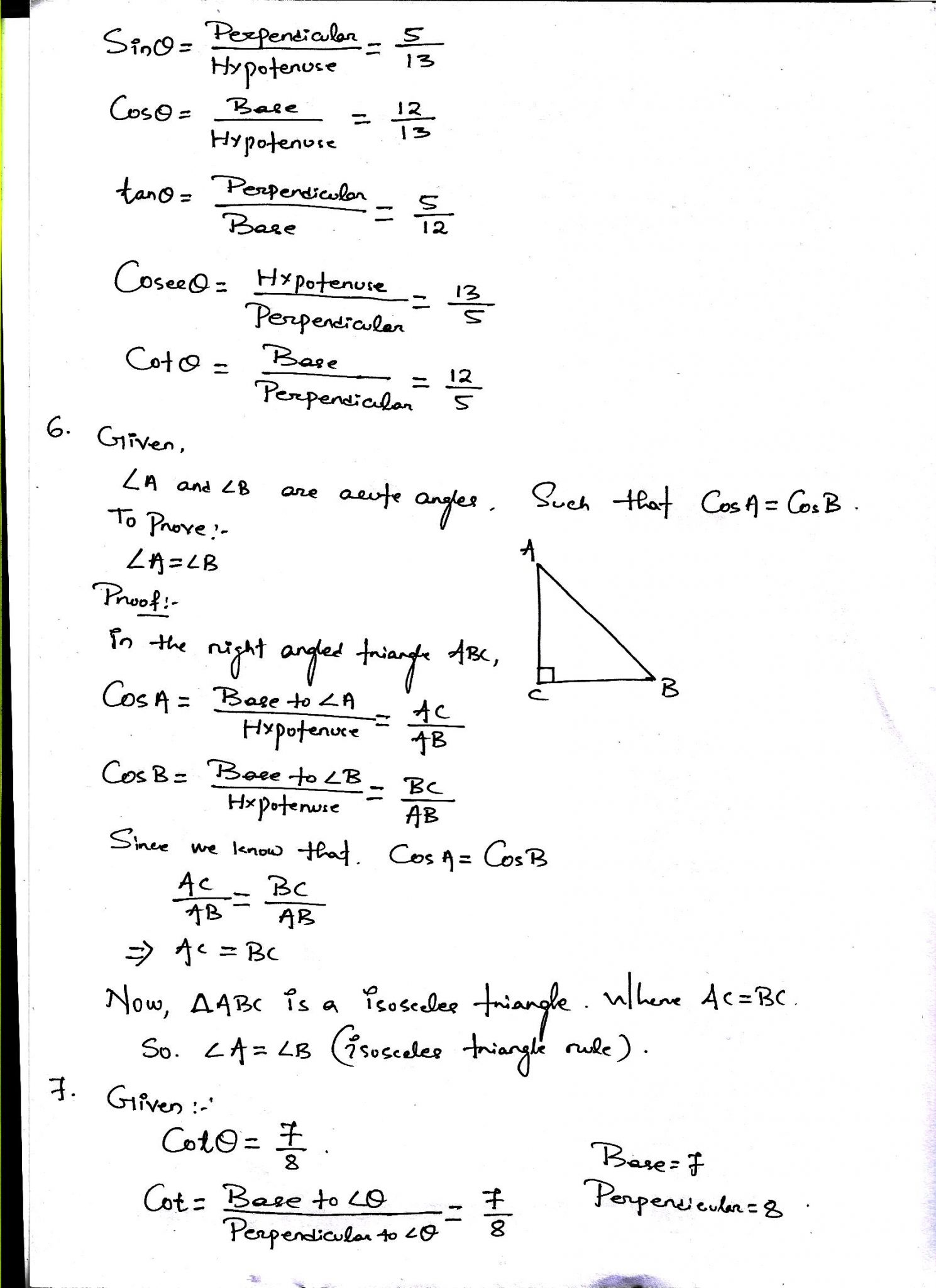Introduction to Trigonometry NCERT Solutions For Class 10 Maths