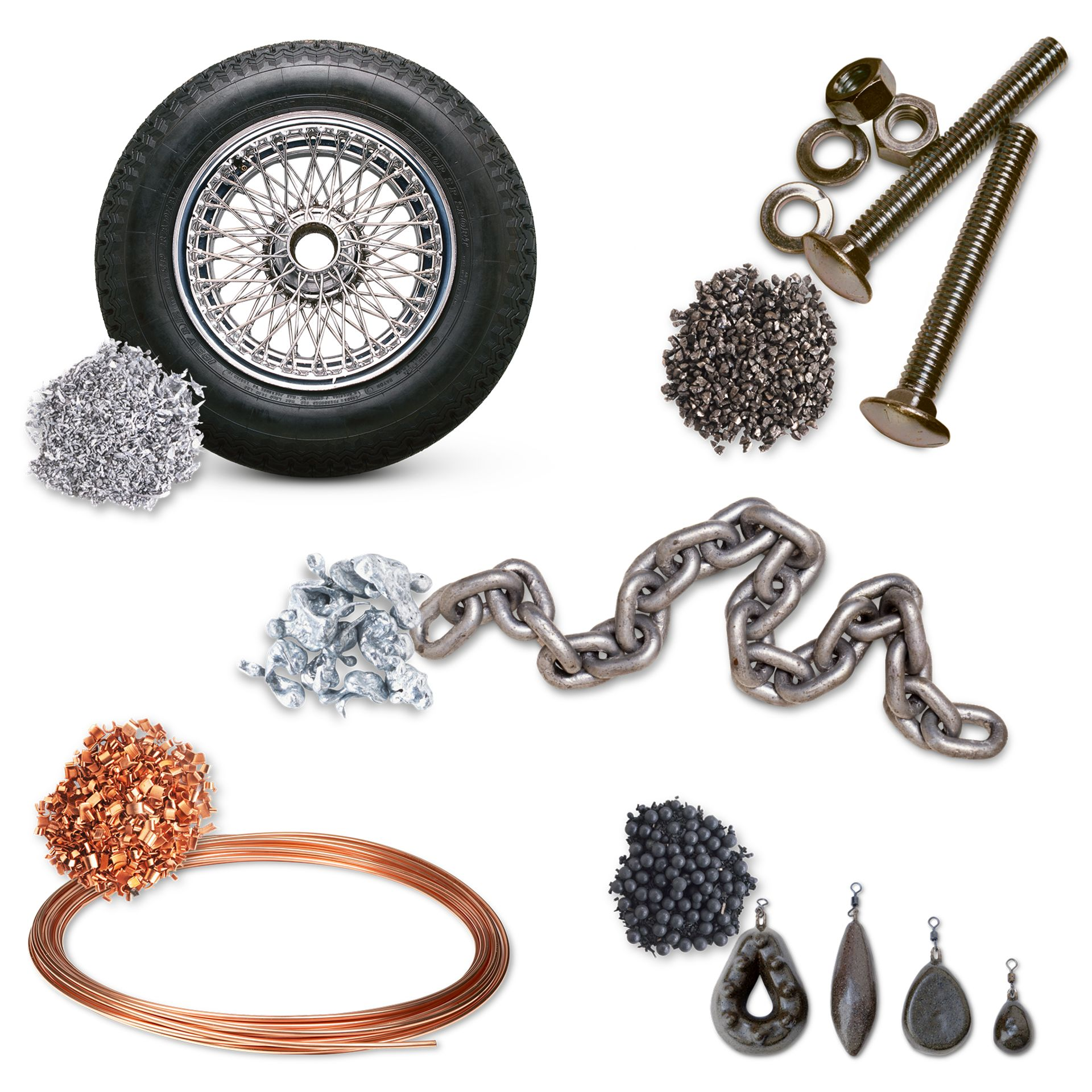 some articles made up of different alloys