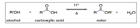 esterification reaction between alcohol and carboxylic acid to form ester and water