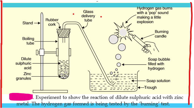 experiment between sulphuric acid and zinc results in evolution of hydrogen gas by bubble test