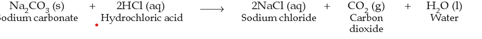 chemical reaction between sodium carbonate with hydrochloride acid to form sodium chloride and carbon dioxide and water.