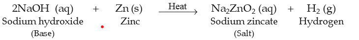 reaction of base sodium hydroxide with zinc metal to form sodium zincate (salt) and release of hydrogen gas