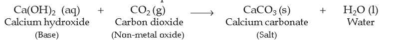chemical reaction between calcium hydroxide and carbon dioxide to form calcium carbonate and water