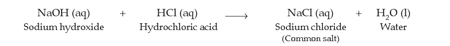 Process of formation of salt ( sodium chloride ) by reaction of sodium hydroxide and hydrochloride acid