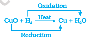 example of oxidation reaction of copper oxide and hydrogen to form copper and water
